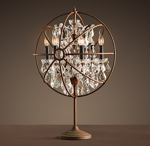 Crystal Chandelier Table Lamps: Foucault's Orb Crystal Table Lamp