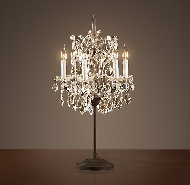 19th C Rococo Iron Amp Clear Crystal Table Lamp