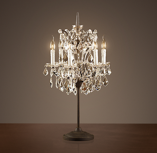 Chandelier Table Lamps: 19th C. Rococo Iron & Clear Crystal Table Lamp