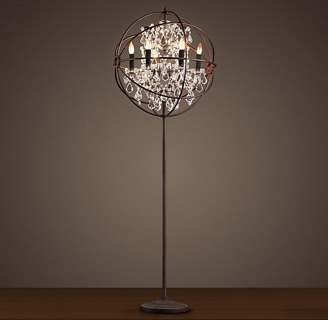 Foucaults orb clear crystal floor lamp aloadofball Choice Image