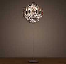 Foucault's Orb Clear Crystal Floor Lamp