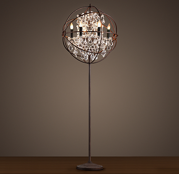 foucault 39 s orb clear crystal floor lamp. Black Bedroom Furniture Sets. Home Design Ideas