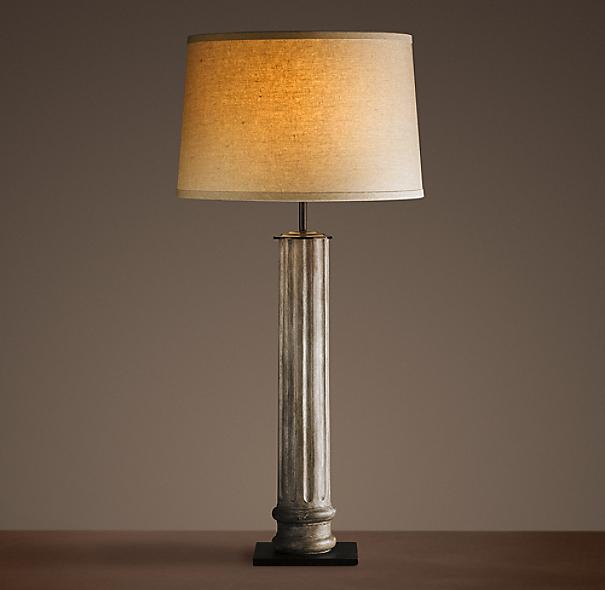 19th c zinc column table lamp - Restoration hardware lamps table ...