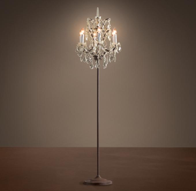 C Rococo Iron Clear Crystal Floor Lamp