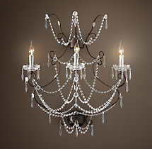 19th C. Rococo Iron & Clear Crystal Sconce 27""