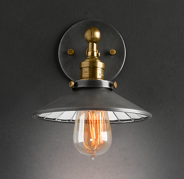 20th C Factory Filament Reflector Sconce