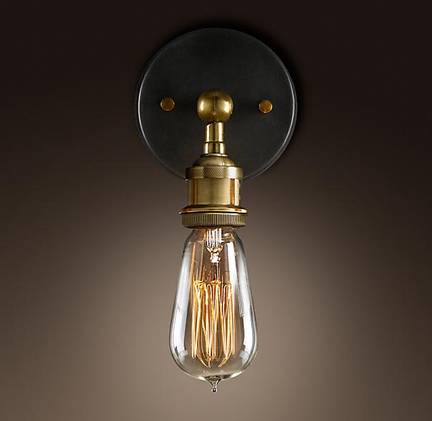 Restoration Hardware Festoon Lighting: 20th C. Factory Filament Bare Bulb Sconce