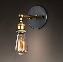 20th C. Factory Filament Bare Bulb Sconce