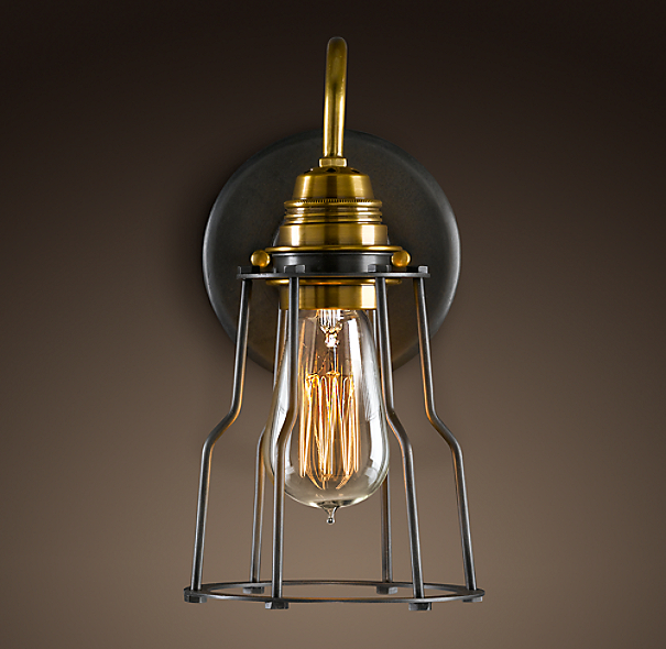 Restoration Hardware Light Fixture Sale: Industrial Cage Filament Sconce