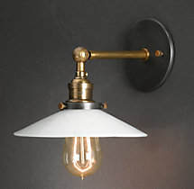 20th C. Factory Filament Milk Glass Sconce