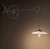 Circa 1930 Adjustable Pulley Sconce - Iron