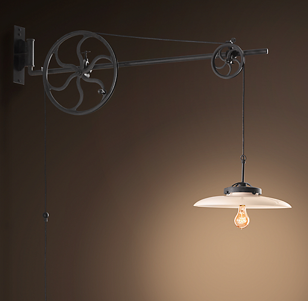 Circa 1930 Adjustable Pulley Sconce Iron