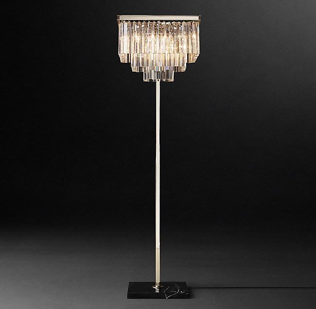 1920s odeon clear glass fringe square floor lamp aloadofball Image collections