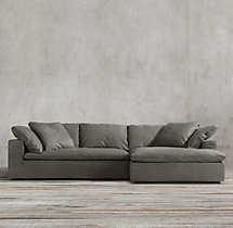 Preconfigured Cloud Track Arm Leather Right Arm Chaise
