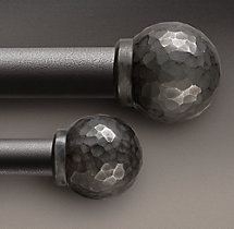 Industrial Hand-Forged Faceted Ball Finial (Set of 2) - Blackened Iron