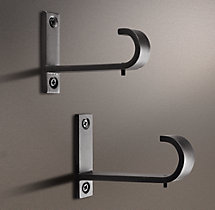 Industrial Hand-Forged Center Brackets - Blackened Iron