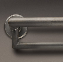 Industrial Hand-Forged Double Hotel Rod - Blackened Iron