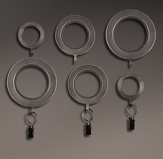 Industrial Hand Forged Drapery Rings Set Of 7