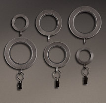 Industrial Hand-Forged Drapery Rings (Set of 7) - Blackened Iron