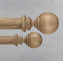 Estate Weathered Oak Ball Finial (Set of 2) - Weathered Oak