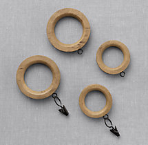 Estate Weathered Oak Drapery Rings (Set of 7) - Weathered Oak