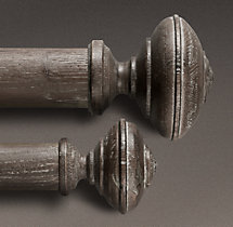 Estate Weathered Oak Trenton Finial (Set of 2) - Burnt Oak