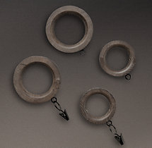 Estate Weathered Oak Drapery Rings (Set of 7) - Burnt Oak