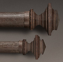 Estate Weathered Oak Square Finial (Set of 2) - Brown Oak