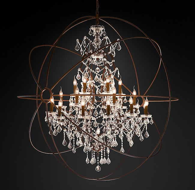 Foucaults orb clear crystal chandelier 60 aloadofball Image collections