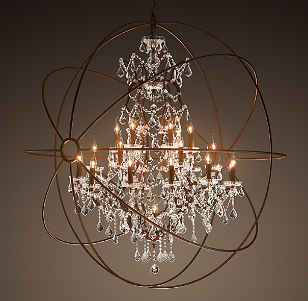 "Restoration Hardware Lighting Orb: Foucault's Orb Clear Crystal Chandelier 60"""