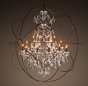 foucaults orb clear crystal chandelier 60 - Restoration Hardware Christmas Lights