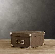 Linen Media Box Chocolate
