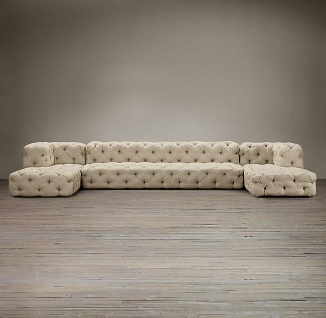 Soho Tufted Upholstered UChaise Sectional - Tufted upholstered sofa