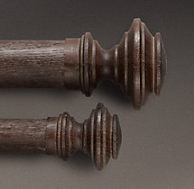 Estate Weathered Oak Newel Finial (Set of 2) - Brown Oak