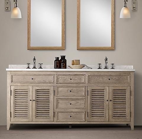 Shutter Bath Collection - Aged Oak | RH