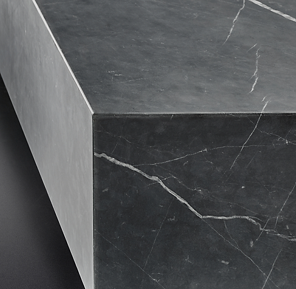 Low Marble Plinth Square Coffee Table
