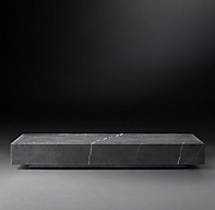 Low Marble Plinth Rectangular Coffee Table