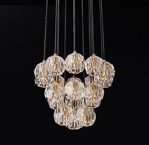 Boule de cristal cluster round chandelier collection rh modern