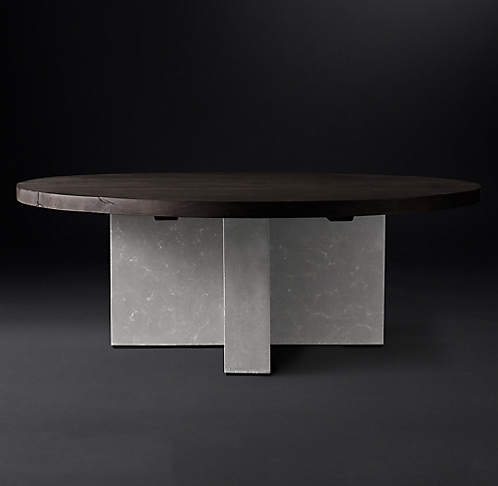 Concrete Pier Collection Brown Reclaimed French Oak RH Modern - Rh concrete table