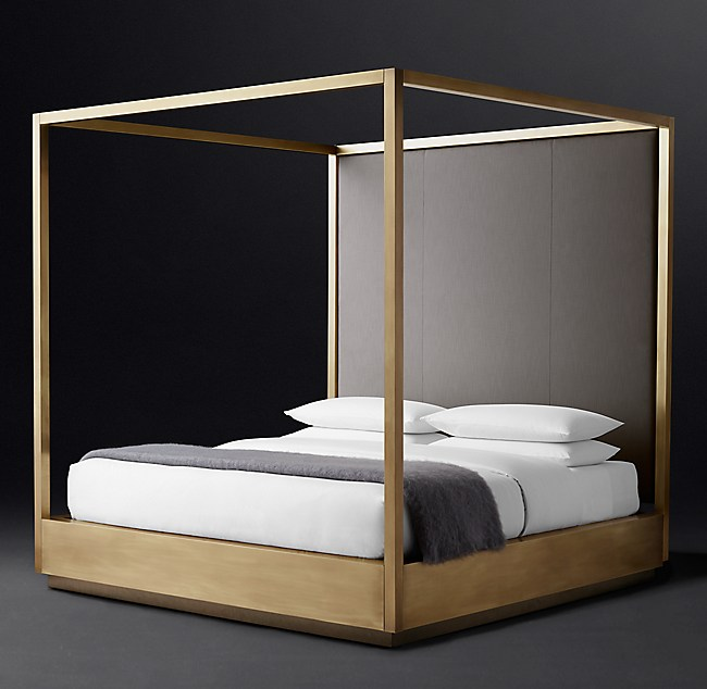 Draper Brass Canopy Bed With Vertical Channel Headboard