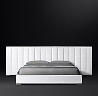 Modena Extended Panel Vertical Channel Fabric Platform Bed