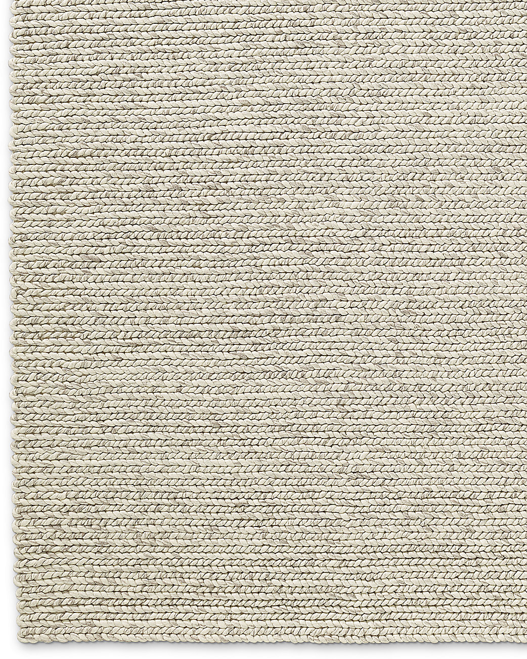 Chunky braided wool rug ivory for Thick area rugs sale