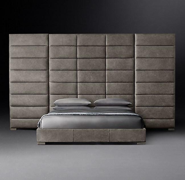 Modena Extended Panel Rectangular Channel Leather Platform Bed