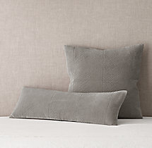 Velvet Chevron Stitch Long Lumbar & Square Sham