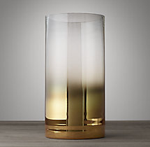 Gold Smoke Glass Hurricane