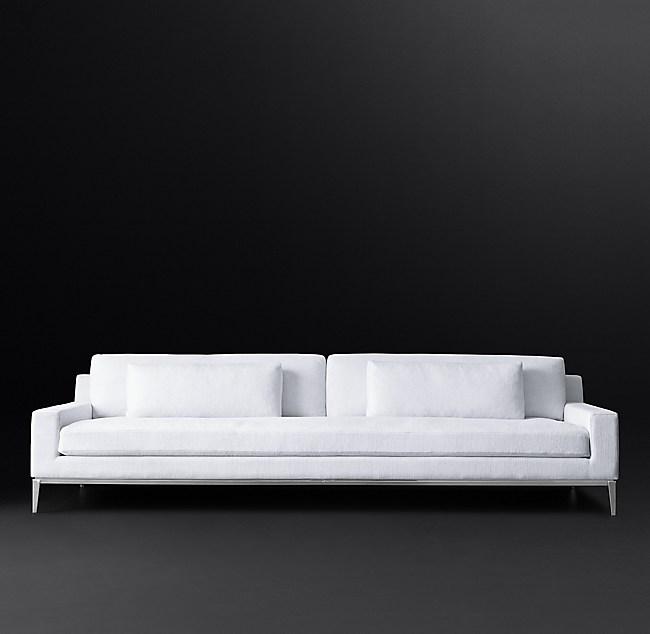 Italia Track Arm Sofa With Bench Seat Metal Base