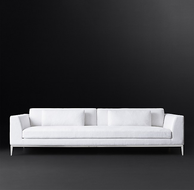 Italia Taper Arm Sofa With Bench Seat Metal Base