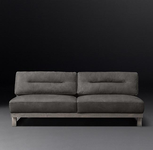 Durrell Leather Armless Sofa