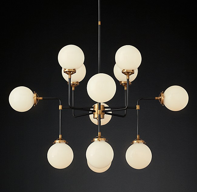 Bistro Globe Milk Glass 12-Light Chandelier