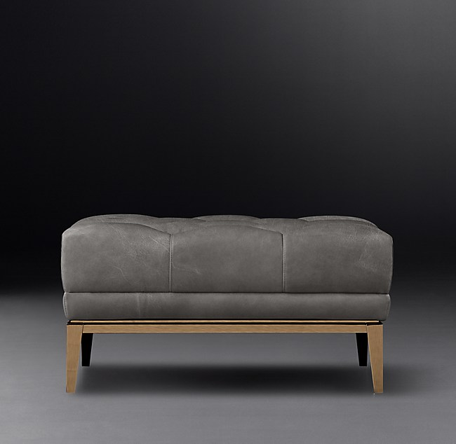 Italia Chesterfield Leather Ottoman With Tufted Seat